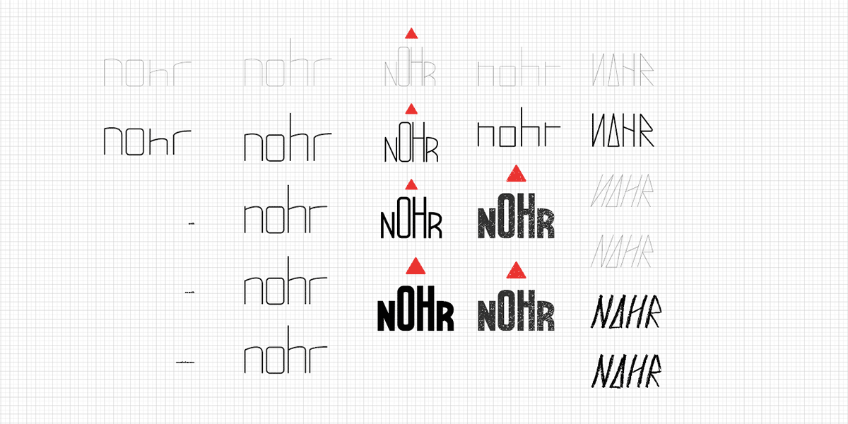 Digitalized logo sketches overview on grid.